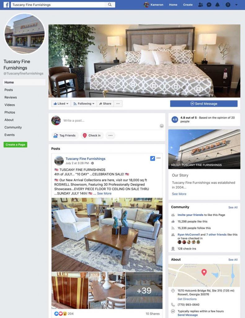 Tuscany Fine Furnishings Facebook page